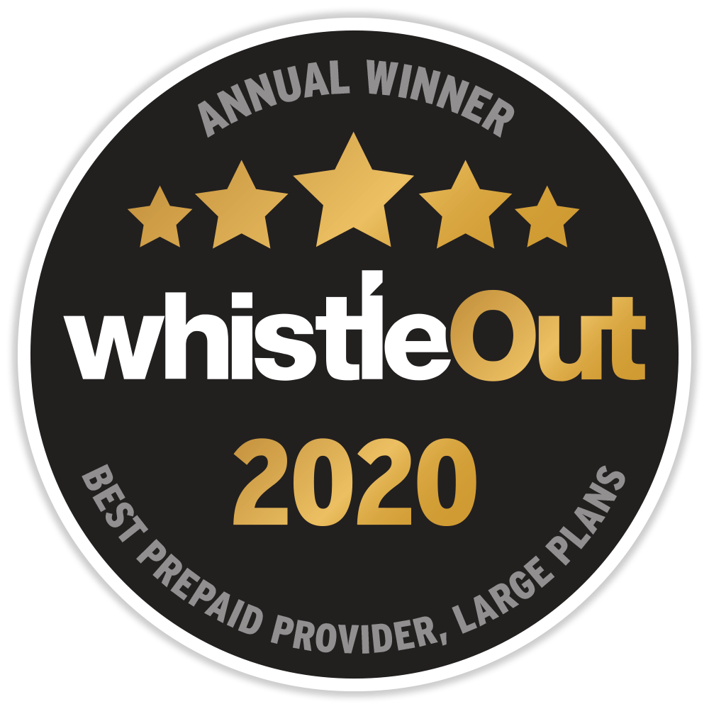 WhistleOut Award for Best Prepaid Provider Large Plans 2020