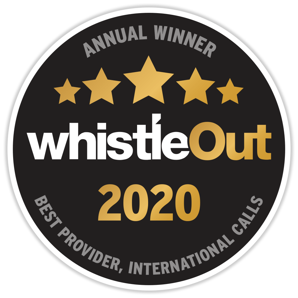 WhistleOut Award for Best Provider International Calls 2020