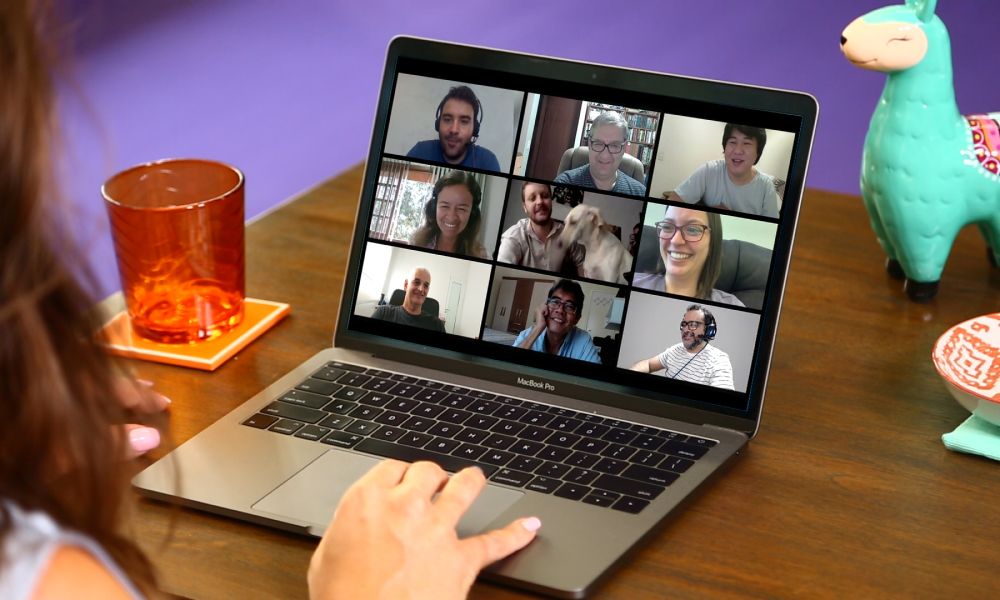 Laptop with Zoom meeting